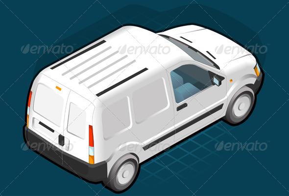 Isometric White Van - Miscellaneous Vectors