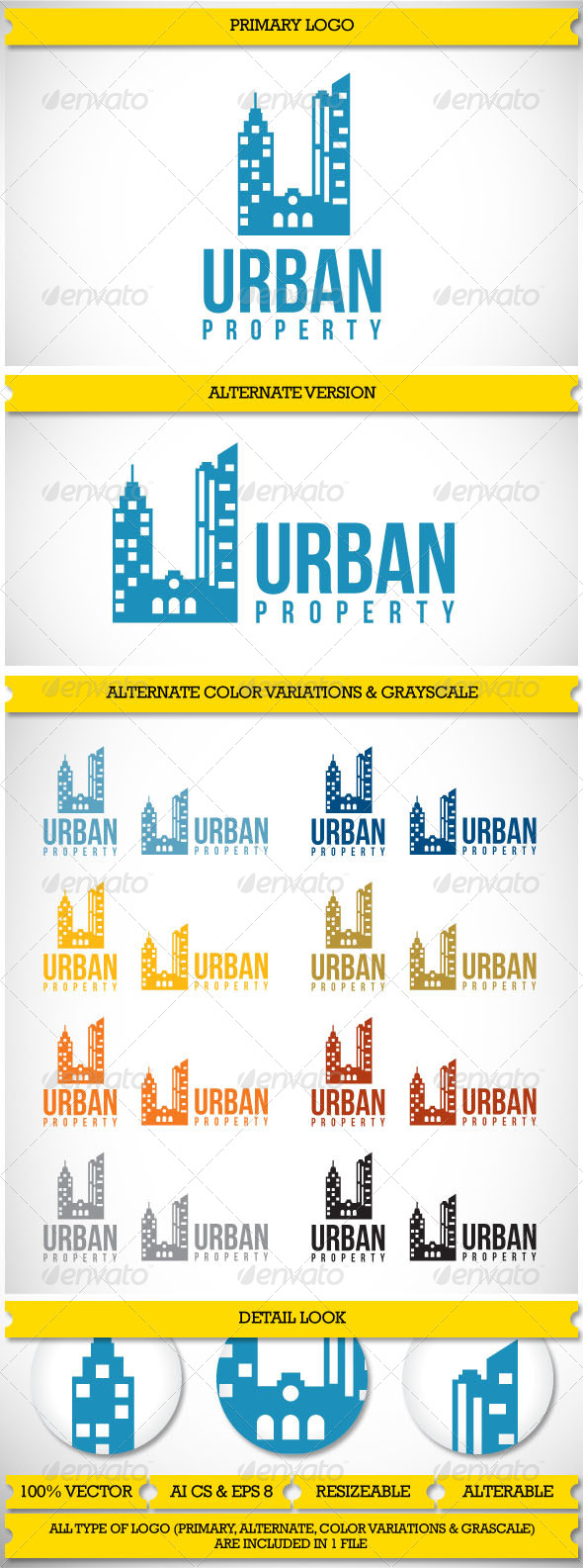 Property Realty Urban logo - Buildings Logo Templates