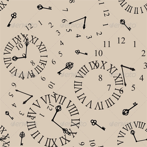 Antique Clock Face Seamless Background - Retro Technology