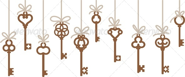 Hanging Antique Skeleton Keys - Borders Decorative