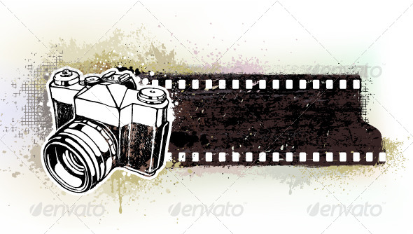 Hand-Drawn Banner with Retro Camera - Vectors