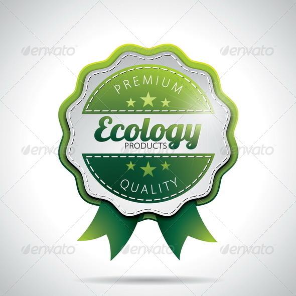 Vector Ecology Product  Labels Illustration - Web Elements Vectors