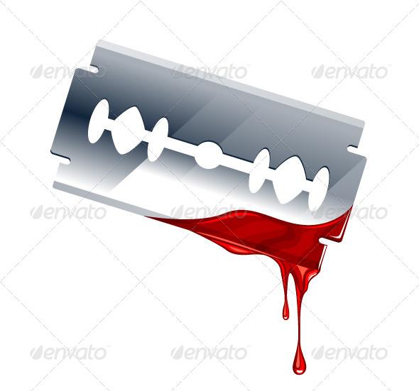Vector Illustration of Blade with Blood - Vectors