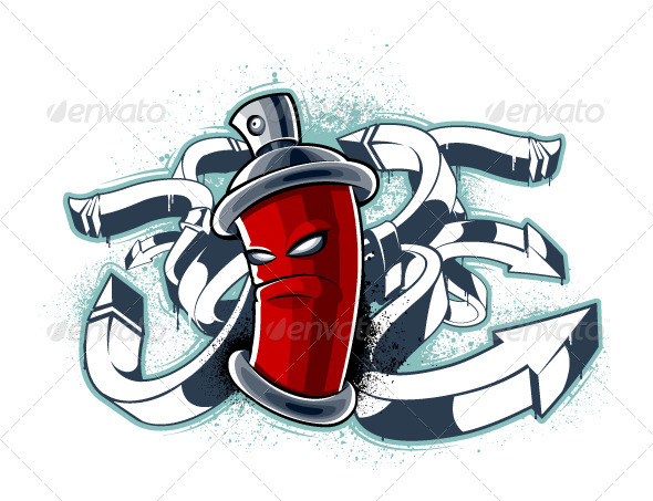 Graffiti Image of Can with Arrows - Vectors