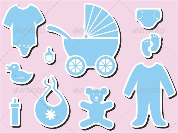 Baby Shower Icons - Man-made Objects Objects
