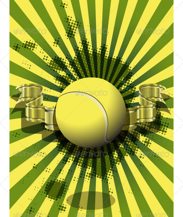 Tennis Ball on a Green Background - Backgrounds Decorative