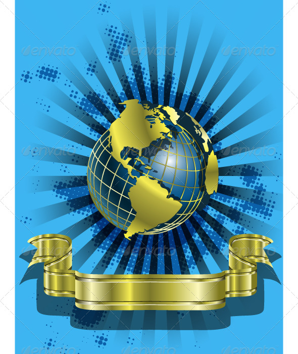 Golden Globes on blue - Backgrounds Business