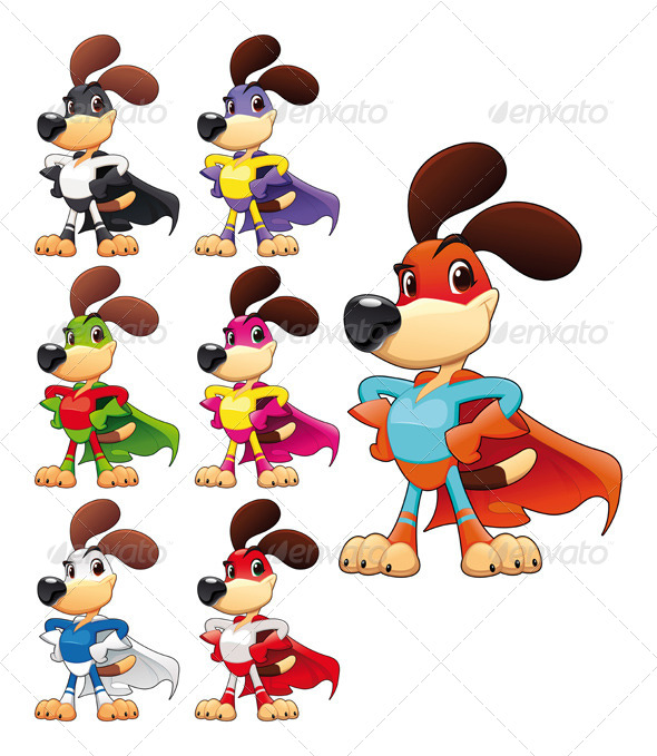 Funny dog super hero.  - Animals Characters