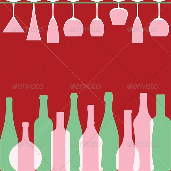 Bottles and wineglasses in bar - Food Objects