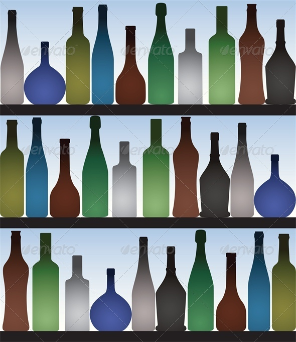 Colored bottles in bar - Food Objects