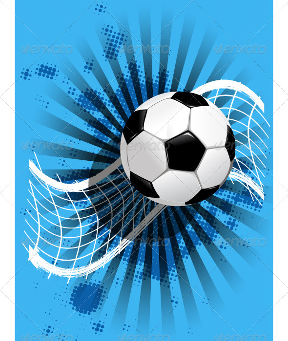 Soccer Ball and Net on Blue - Sports/Activity Conceptual