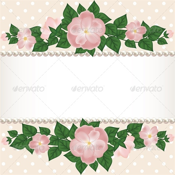 Card with Roses and Pearls - Backgrounds Decorative