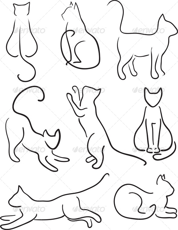 Silhouette of Cats.  - Animals Characters