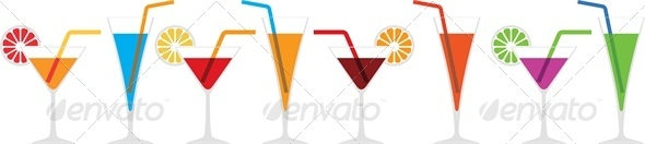 Seamless Horizontal Border of Various Cocktails - Borders Decorative