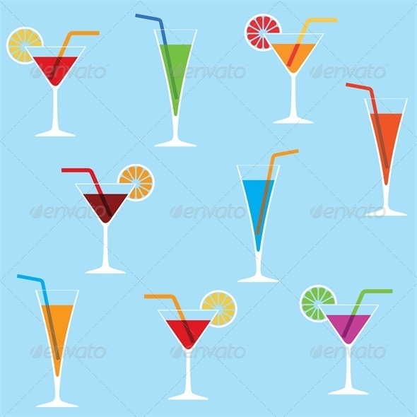 Seamless Background with Cocktails - Food Objects