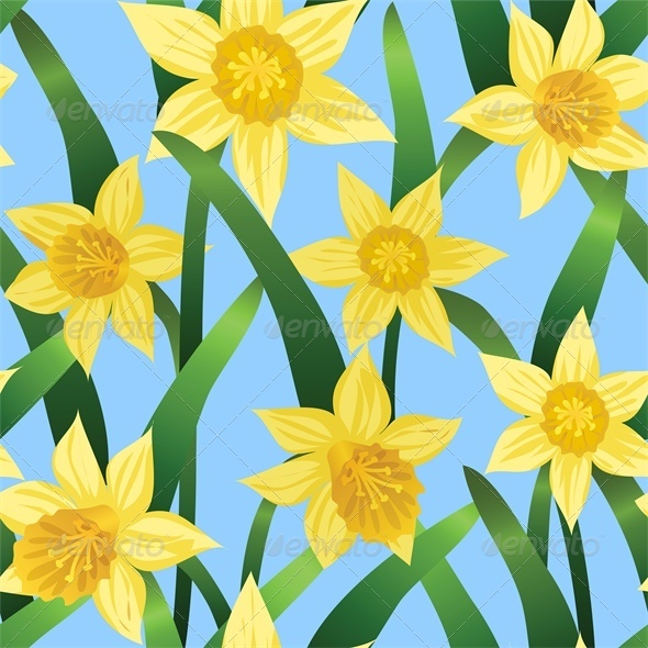 Seamless Background With Daffodils on Blue - Flowers & Plants Nature