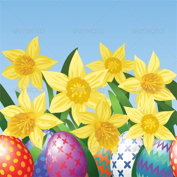Easter Eggs on Meadow with Daffodils - Miscellaneous Seasons/Holidays