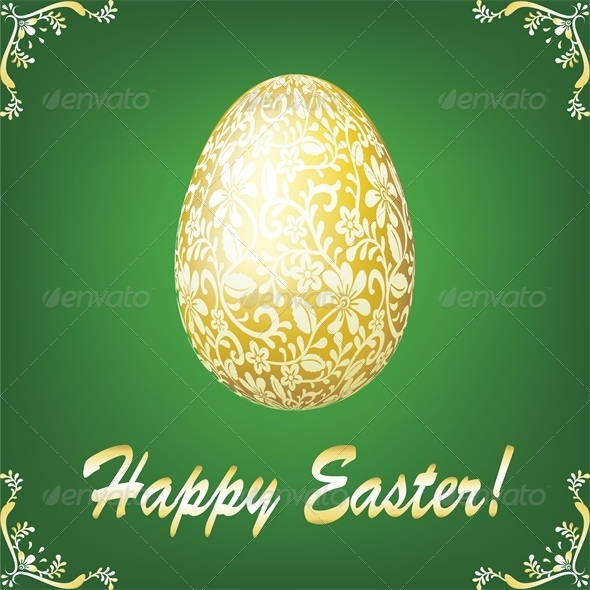 Easter Gold Egg on Green Background - Miscellaneous Seasons/Holidays