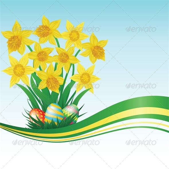 Easter Eggs, Daffodils, Grass and Blue Sky - Miscellaneous Seasons/Holidays