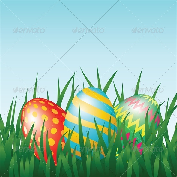 Greeting Card with Easter Eggs on Meadow - Miscellaneous Seasons/Holidays