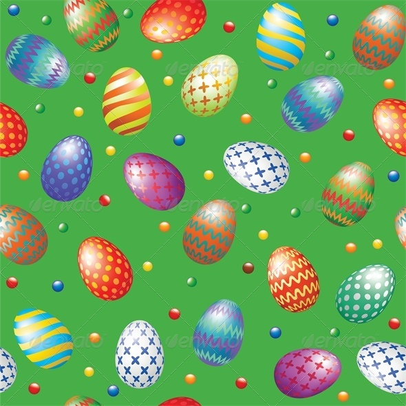 Seamless Background with Easter Eggs - Miscellaneous Seasons/Holidays