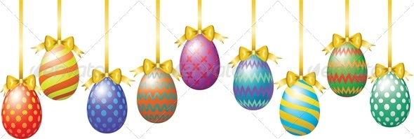 Hanging Easter Eggs with Bow - Miscellaneous Seasons/Holidays
