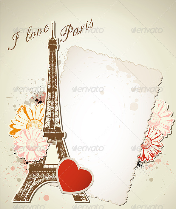 Old Frame and  Eiffel Tower - Travel Conceptual