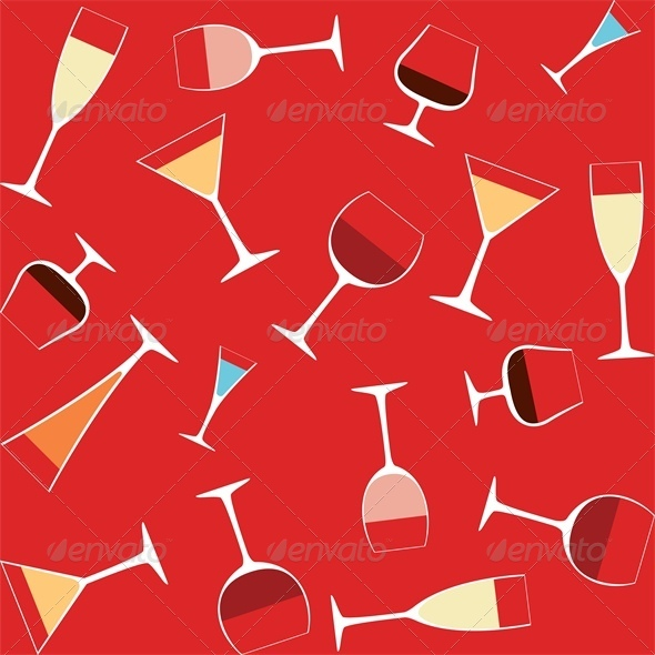 Seamless Background With Alcohol in Glasses - Food Objects
