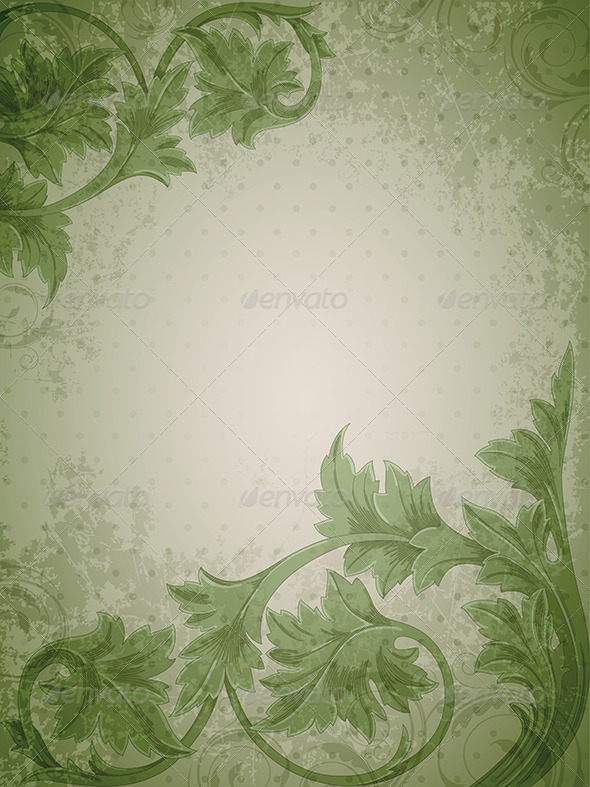 Green Vintage Background By Artness