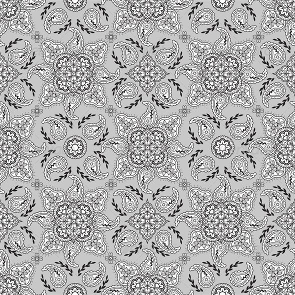 Seamless Gray Paisley Pattern - Miscellaneous Seasons/Holidays