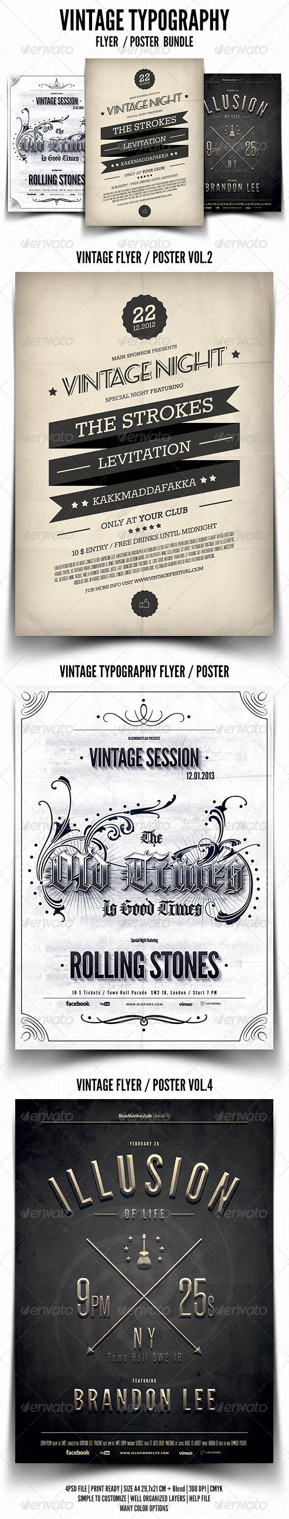 Vintage Typography Flyer / Poster Bundle - Events Flyers