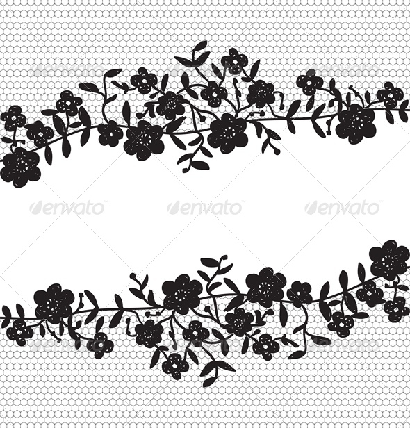Invitation Card with Floral Lace Border - Backgrounds Decorative