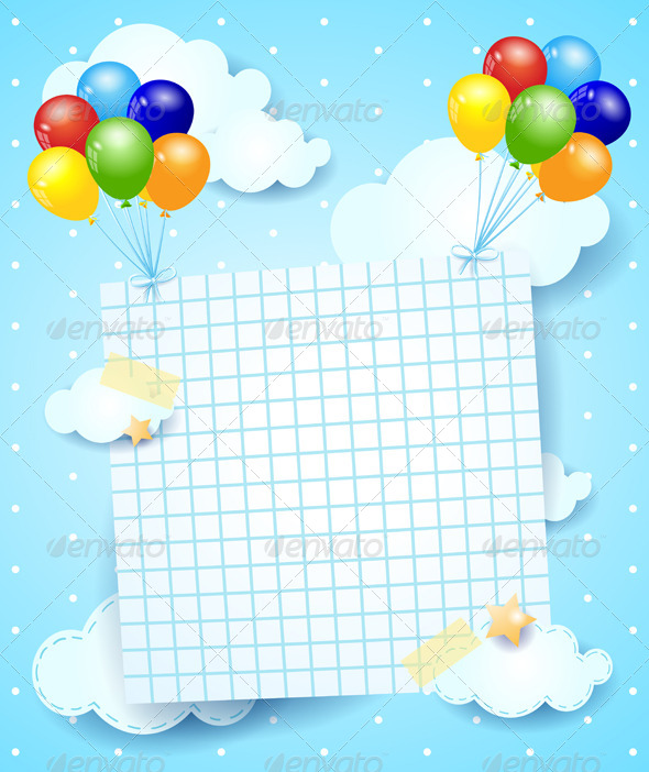 Balloons and Paper Sheet - Backgrounds Decorative