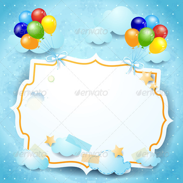 Balloons and custom board - Backgrounds Decorative