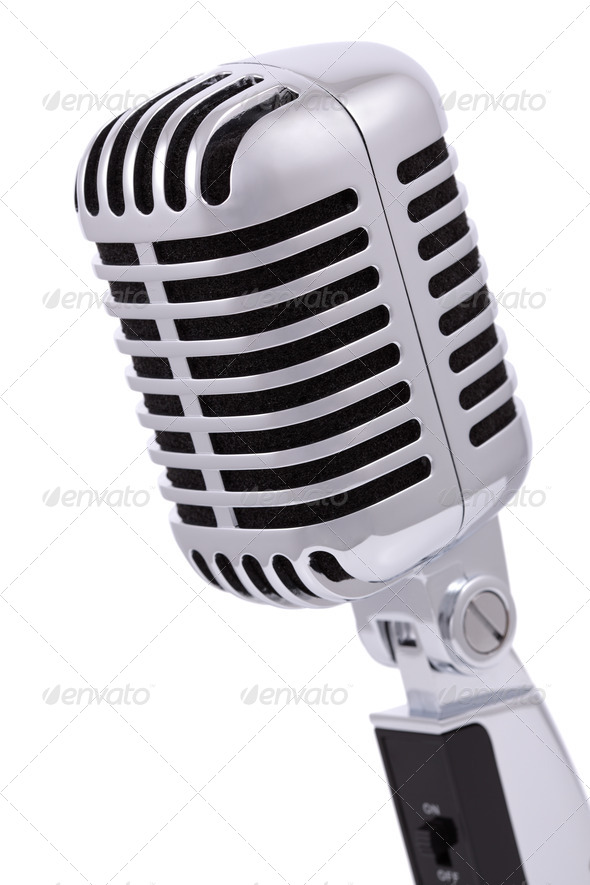 Vintage microphone isolated on white - Stock Photo - Images