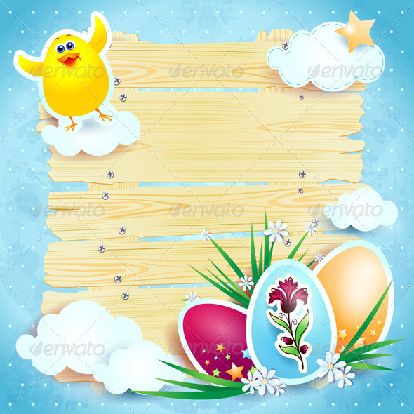 Easter background with chick - Seasons/Holidays Conceptual