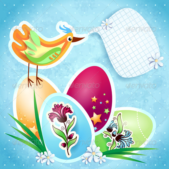 Easter background with eggs - Seasons/Holidays Conceptual