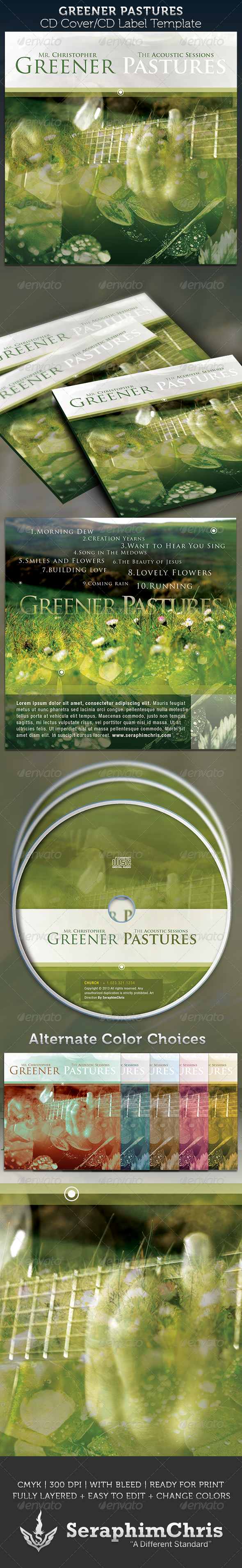 Greener Pastures: CD Cover Artwork Template - CD & DVD Artwork Print Templates