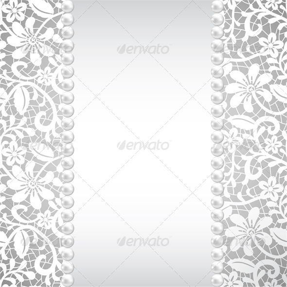 wedding, greeting or invitation card with pearl an - Backgrounds Decorative