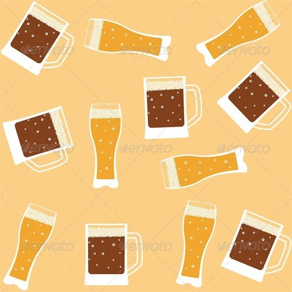Seamless background with mug of beer - Food Objects