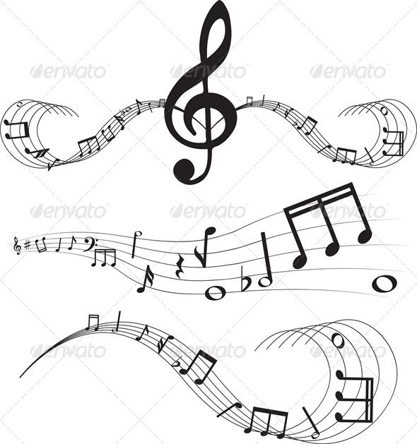 Set of music notes on staves - Decorative Symbols Decorative