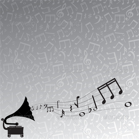 gramophone and melody, gray background - Backgrounds Decorative