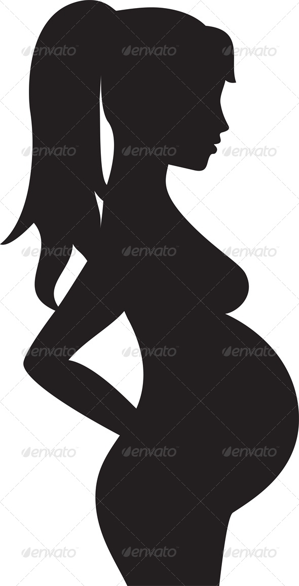 Silhouette of a Pregnant Woman - People Characters