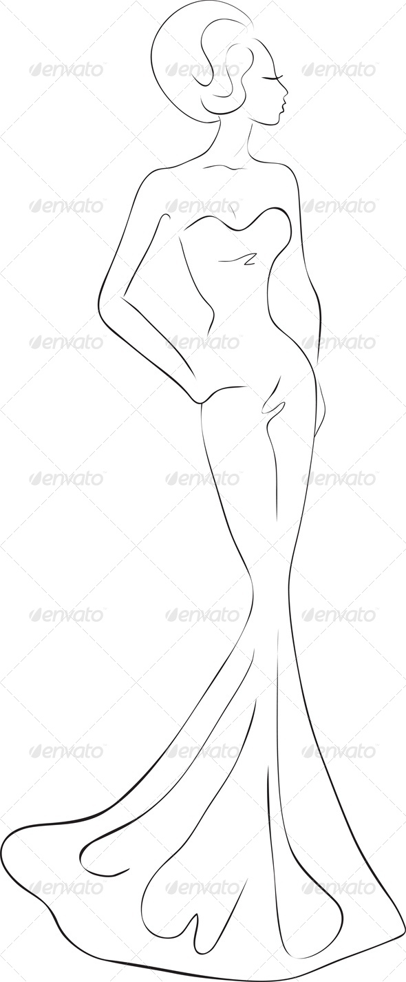 Fashion sketch of woman in evening maxi dress - People Characters