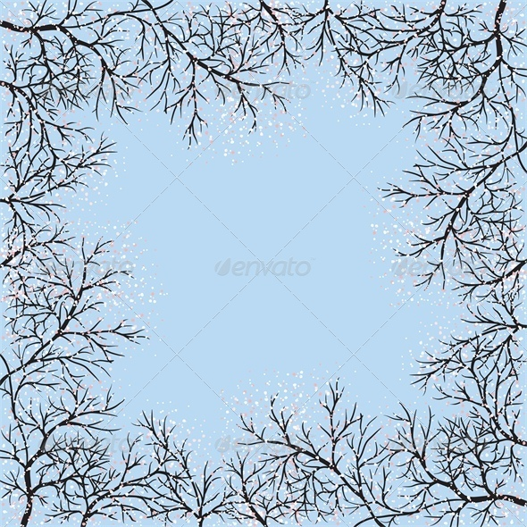 Blooming Trees Frame and Blue Sky - Seasons Nature