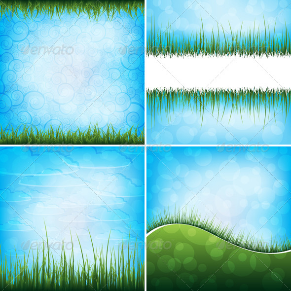 Set of grass backgrounds - Nature Conceptual