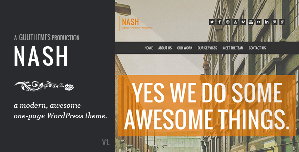 NASH – Responsive HTML5 One Page WordPress Theme