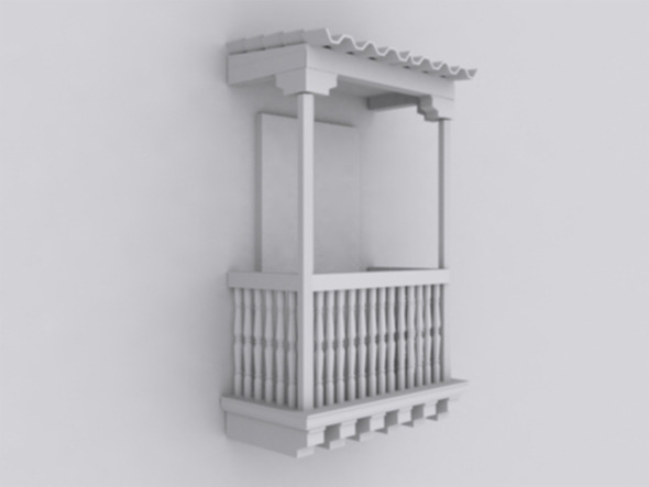 low poly colonial balcony