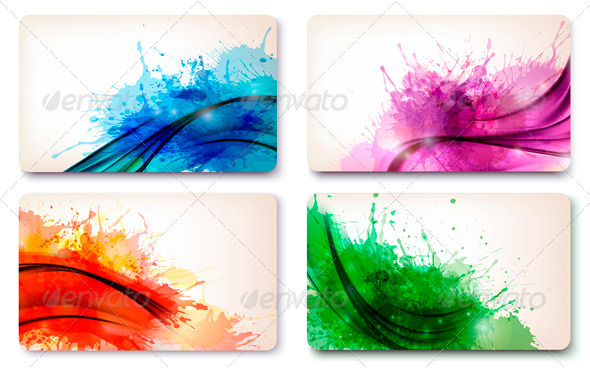 Set of color abstract watercolor backgrounds - Borders Decorative