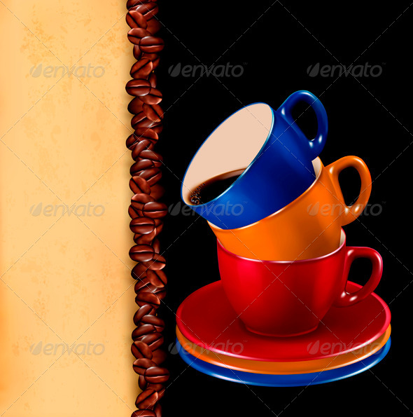 Background with colorful cups of coffee and paper - Food Objects